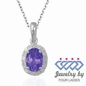 Amethyst 14K White Gold Halo Diamond Pendant
